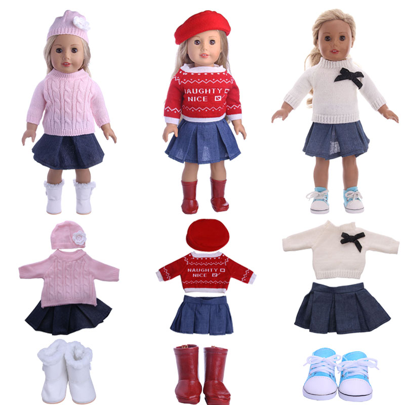 Doll Sweater 10 Styles Fashion Knit Set For 18 Inch American Dolls&43 Cm Born Baby Our Generation Christmas Birthday Girl's Gift
