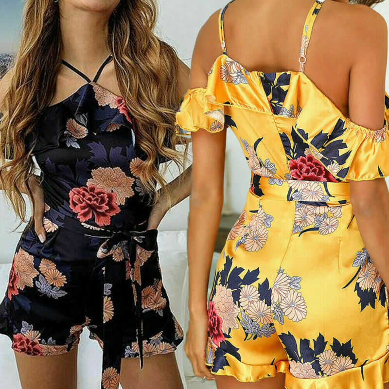 Hirigin Floral Print Satin Playsuit Women Summer Sexy Off Shoulder Halter Sleeveless Ruffle Jumpsuit Beach Work Overalls Shorts