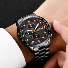 LIGE New Classic Black Mens Watches All Steel 99940