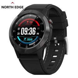 غس ساعة ذكية رجالي ساعة رقمية معدل ضربات القلب الارتفاع بارومتر البوصلة Smartwatch الرجال تشغيل جهاز مراقبة اللياقة الرياضية الشمال حافة