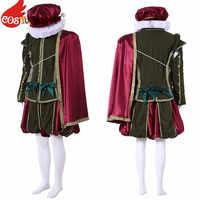 Costumebuy Тюдор елизабетанский аристократ мужской Викторианский принц Костюм в стиле «Ренессанс» Средневековый Королевский военный костюм на...