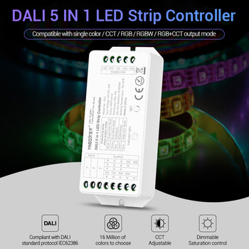 led strip dimmer MiBOXER DALI 5 IN 1 LED strip Controller DL5 15A single color/CCT/RGB/RGBW/RGB+CCT,DC12V-24V dc12v 24v rgb rgbw rgbww rgb cct led amplifier 12a 15a 24a 30a rgbwc led strip tape power repeater controller
