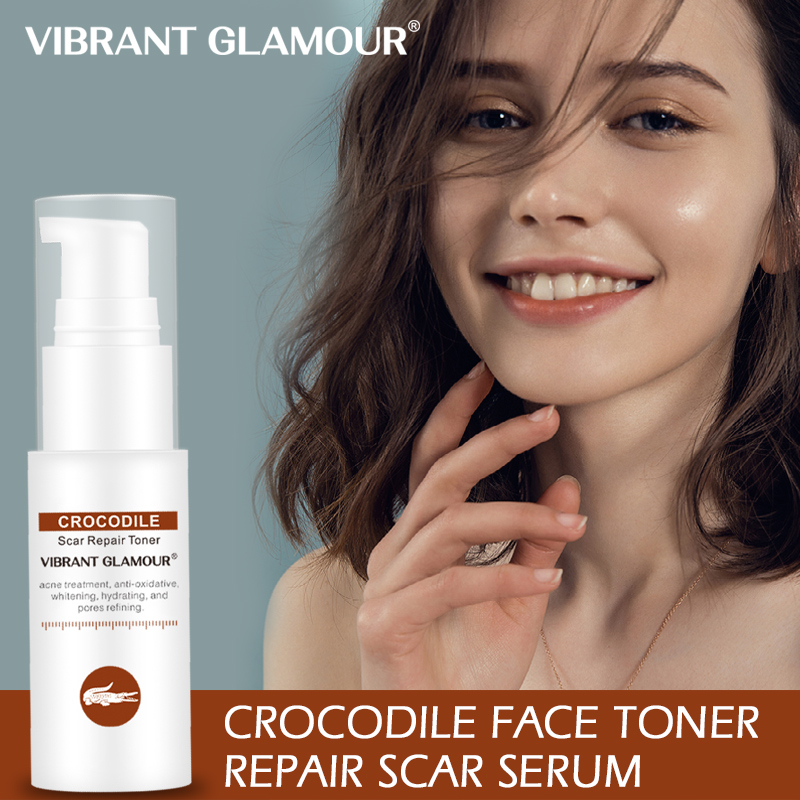 VIBRANT GLAMOUR Crocodile Face Toner Repair Scar Serum Removal Acne Scar Marks Shrink Pores Brighten Relieve Sensitive Skin Care
