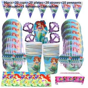 Image 3 - 110Pcs 20 คนHappyวันเกิดMermaid Ariel Girls Baby Shower Partyตกแต่งแบนเนอร์ตารางผ้าหลอดถ้วยแผ่นผู้ผลิต