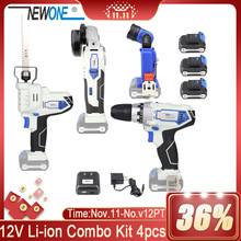 Combo-Kit Angle-Grinder-Drill Battery Power-Tool Cordless Electric Newone 12v with Flashlight-Lamp