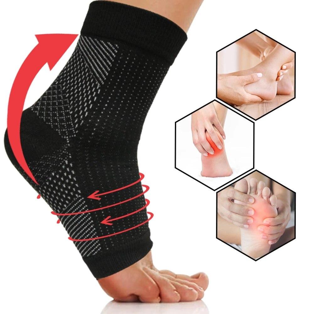Compressão pé tornozelo meias anjo manga anti fadiga fasciite plantar esporte meias tornozelo cinta suporte esporte ao ar livre 1 par
