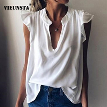2020 Casual Solid Ruffle V Neck Blouse Shirt Summer Butterfl