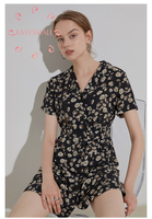 EASYSMALL Women Chiffon printing Fashion Summer Retro V neck streetwear casual High Waist Rompers short sleeve jumpsuit skirt