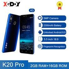 Xgody k20 pro 4g smartphones impressão digital telefones celulares 2gb 16gb sim duplo 5.5