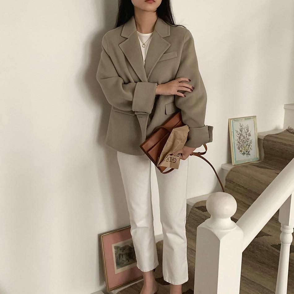 Hedd73fa1ea28405883b43b56fee87d35G - Winter Korean Revers Collar Solid Woolen Short Coat