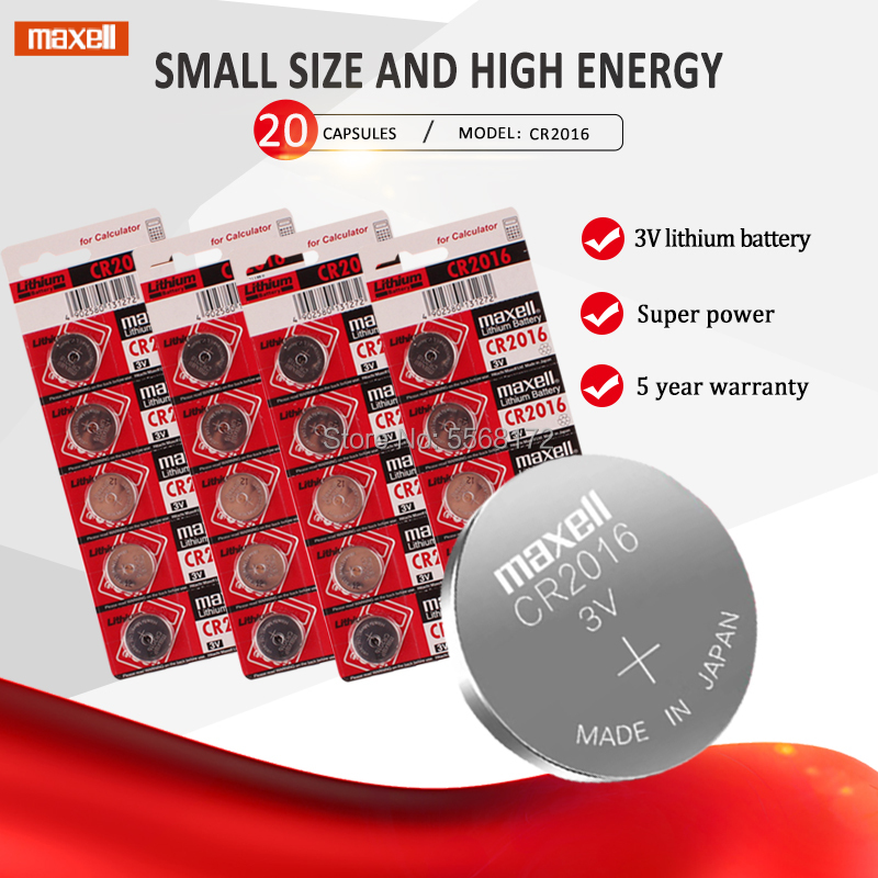 20Pcs For maxell CR2016 3V Lithium li-liom Battery DL2016 ECR2016 LM2016 BR2016 CR 2016 Button cell Coin Batteries watch toys image