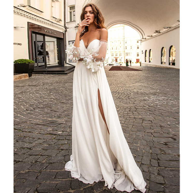 Beach Wedding Dress Side Slit Wedding Gowns Ruff Sleeve Simple Bride Dress Boho Wedding Dress Vestidos De Novia