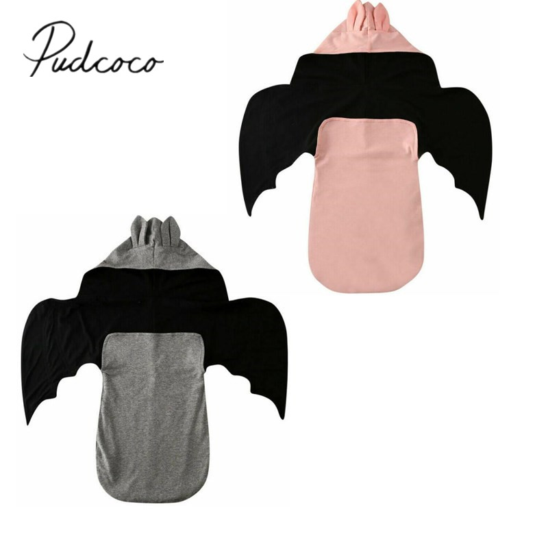 Pudcoco Newborn Baby Bedding Clothing Infant Baby Kid Bat Shape Cotton Swaddle Blanket Wrap Wings Hooded Sleeping Bag 0-6M