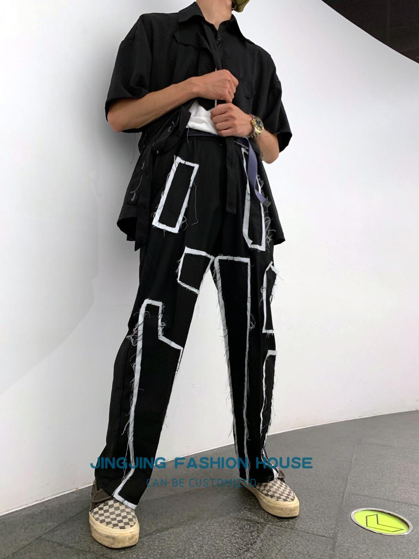 S 4XL! 2020 Лоскутная Ткань Патч длинный рукав прямой труба темная Высокая уличная Высокая мода Су сделать пожилых мужчин и женщин свободные брю