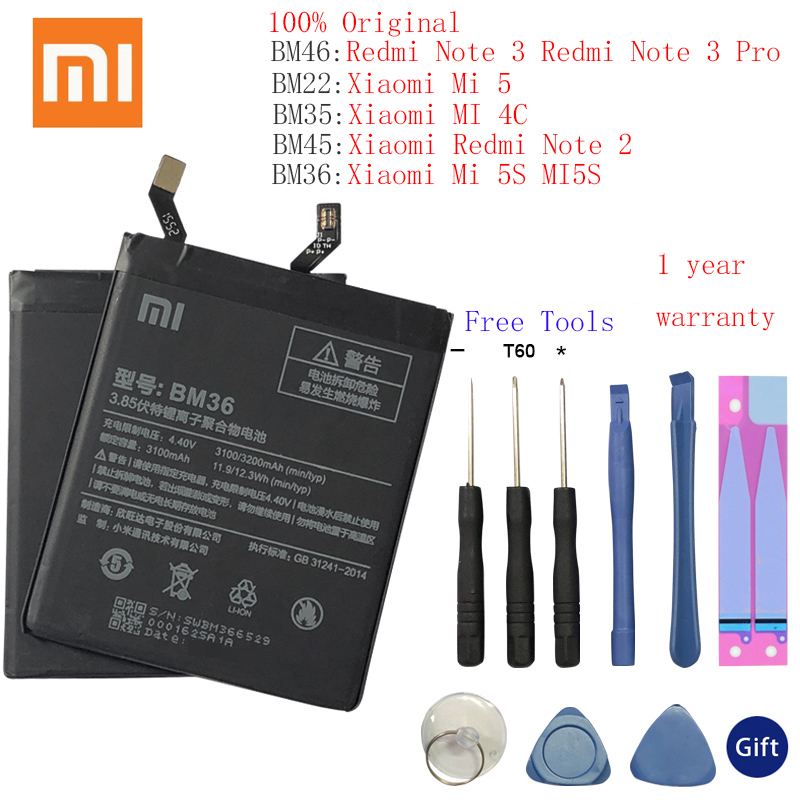BM36 BM22 BM35 BM45 BM46 <font><b>Battery</b></font> For Xiaomi Mi4C Mi5S <font><b>Mi</b></font> 5 4C <font><b>5S</b></font> Mi5 Redmi Note 2 3 Pro Replacement <font><b>Battery</b></font> Batterie Free Tools image