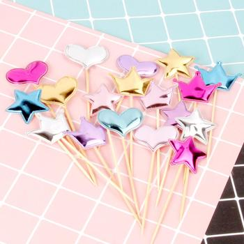 5Pcs Lovely Heart Star Crown Non-toxic Baby Shower Party Wedding Dessert Decor image