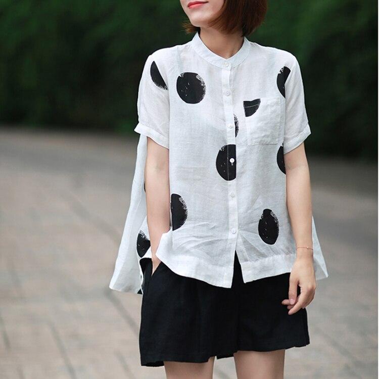 Women Fashion Elegant Casual Look Shirt Female Tops Cute Polka Dot Print Weekend Blouse Summer Single Breasted Shirt and Blouse 21