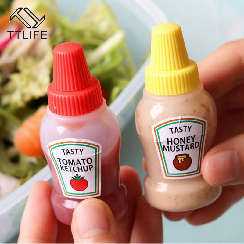 2pcs/set <font><b>25ML</b></font> Mini Tomato Ketchup Bottle Portable Small Sauce <font><b>Container</b></font> Salad Dressing <font><b>Container</b></font> Pantry <font><b>Containers</b></font> for Bento Box image
