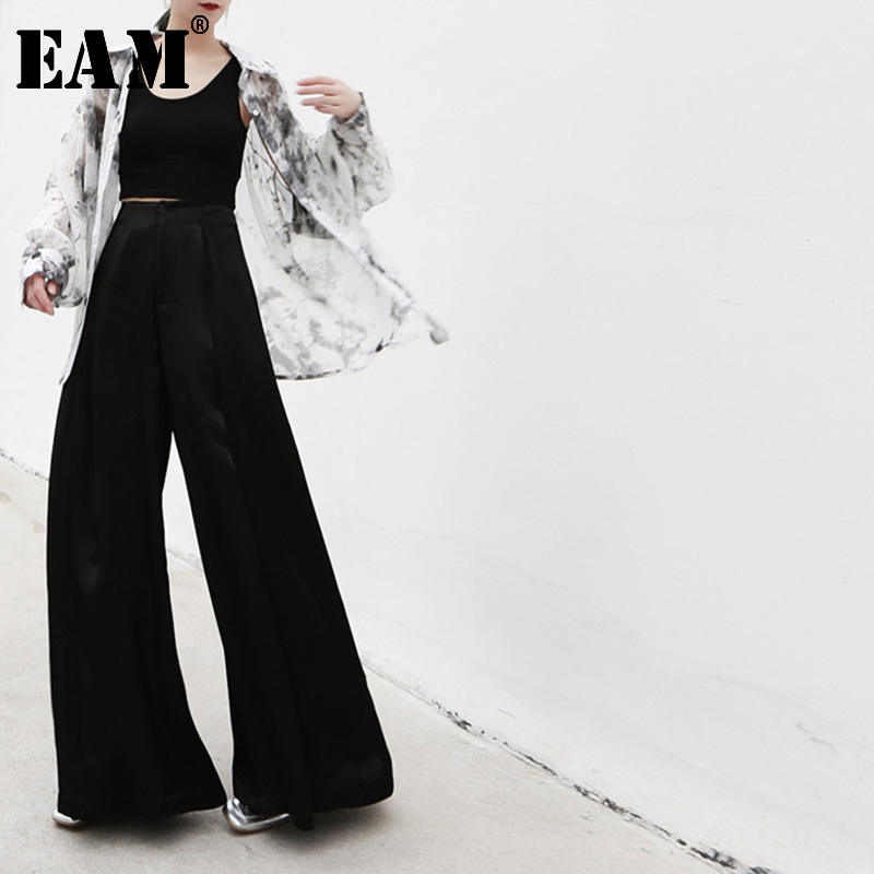 [EAM] High Waist Black Satin Long Leisure Wide Leg Trousers New Loose Fit Pants Women Fashion Tide Spring Autumn 2020 JS787