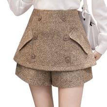Skirt Shorts Wide-Leg Tweed Boot Plus-Size Double-Breasted Woolen Autumn Black Zipper-Texture