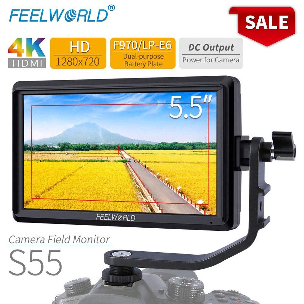 FEELWORLD S55 5.5 cal DSLR ekran aparatu 4K HDMI LCD IPS HD 1280×720 wyświetlacz monitor zewnętrzny 8.4V DC wyjście dla Canon Sony Nikon