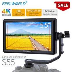 FEELWORLD S55 5.5 calowy ekran aparatu DSLR 4K HDMI LCD IPS HD 1280x720 monitor zewnętrzny 8.4V wyjście dc dla Nikon Sony Canon w Monitor od Elektronika użytkowa na