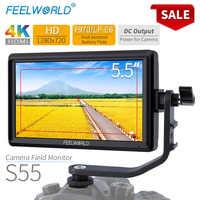 FEELWORLD S55 5.5 polegada DSLR Camera Monitor 4K HDMI Monitor de Campo LCD HD IPS 1280x720 Exibição 8.4V de Saída DC para Nikon Sony Canon
