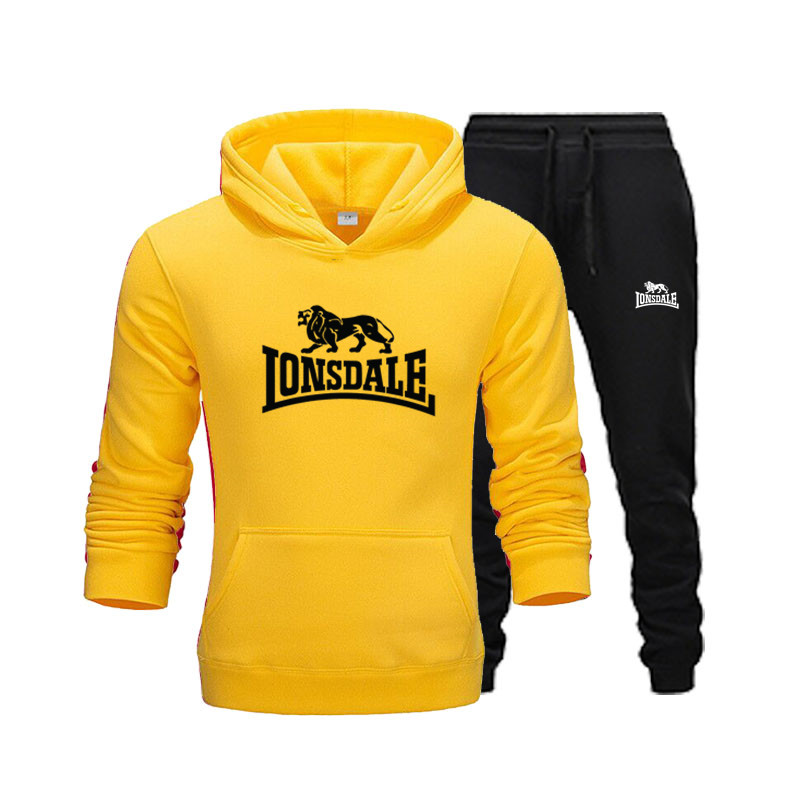 New Print Hoodie Fashion Jogging Hooded Shirt Sportswear Sweatshirt + Sports Pants Men's Brand Hooded Gym Sports Hooded Suit
