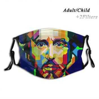 Al Pacino Pop Art Wpap Adult Kids Washable Funny Face Mask With Filter Godfather Goodfelas Gangster Canoli Gun Shoot Movie image