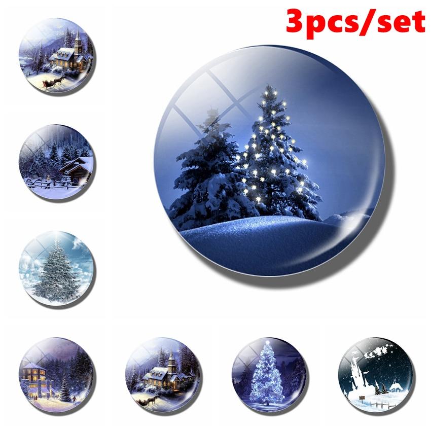 3 шт., магнитный стеклянный купольный холодильник в виде снежного мира, фэнтези, снежный домик, наклейка на холодильник, рождественский подарок, украшение для дома