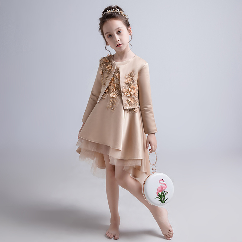 Girls Wedding Dress Little Girl Birthday Princess Dress Flower Boys/Flower Girls Evening Gown Children Catwalks Small Host Piano