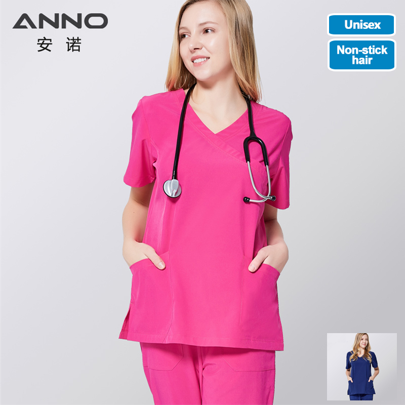 ANNO Medical Scrub Set Non Sticky Hair Pet Hospital Uniform Clinical Nursing Dress Surgical Clothes Shirt Trouser
