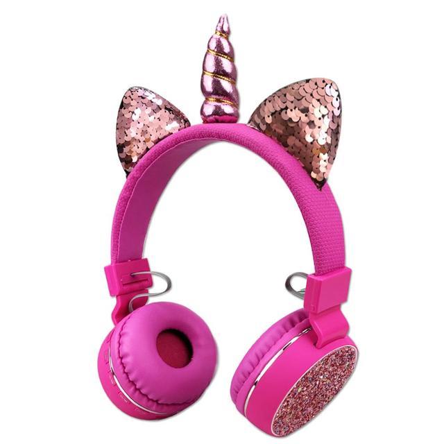 Fone de ouvido sem fio de unicórnio para crianças, headset estéreo com bluetooth, estéreo, desenho animado, para adultos, meninos e meninas, presentes