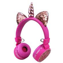 Kids Hoofdtelefoon Unicorns Hoofdtelefoon Draadloze Bluetooth Headset Stereo Muziek Rekbaar Cartoon Oortelefoon voor Volwassen Jongen Meisje Geschenken