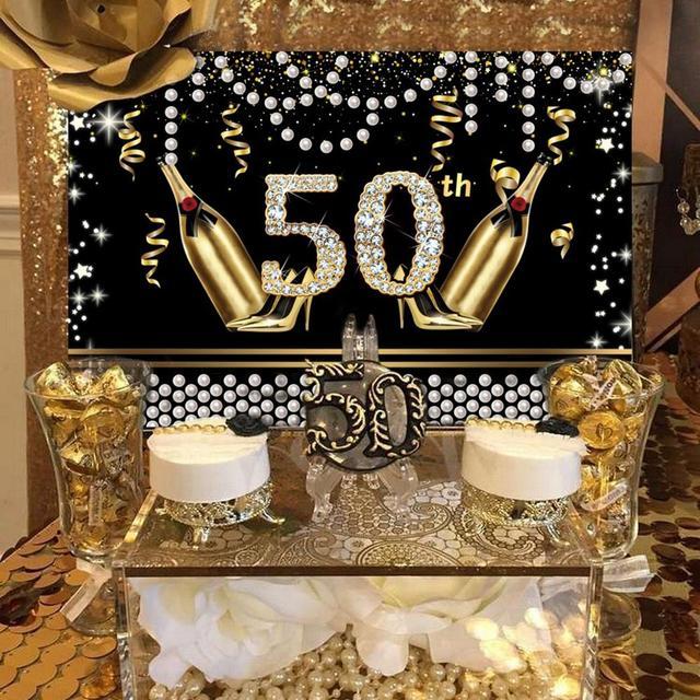 FENGRISE-toile de fond noir doré | Décorations de fête danniversaire 40 50 30, rideau danniversaire pour adulte, décor de fond de fête danniversaire