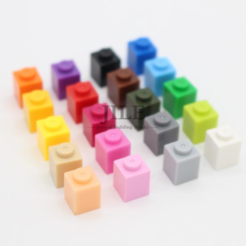Moc Creative Brick 1x1 3005 DIY Basics Enlighten Building Blocks Bluk Sets Compatible Assembles Particles Toys For Children