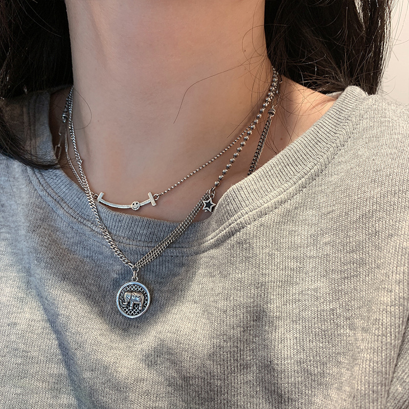 Fashion Charm Pendant Jewelry Chain Elephant Silver Choker Statement Necklace