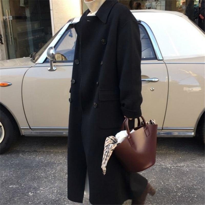 Invierno 2019 nueva moda coreana Casual de gama alta de talla grande suelta doble botonadura negro larga chaqueta de lana caliente de las mujeres