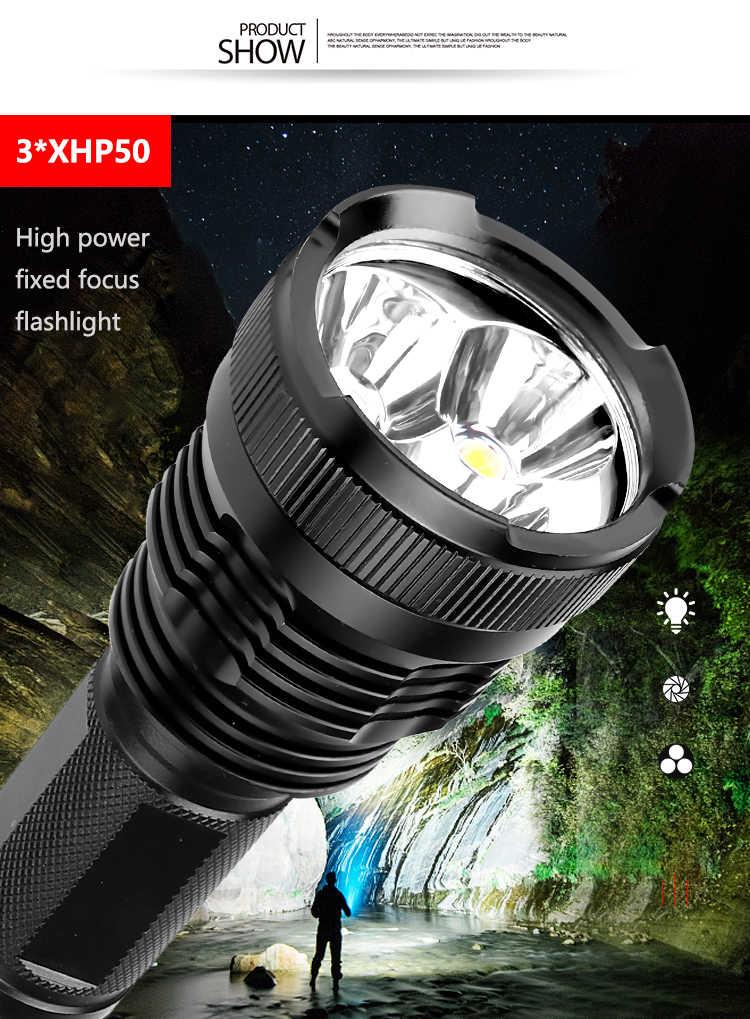 7500 lumens XLamp 3 * XHP50 החזק ביותר led פנס usb זום לפיד xhp70.2 xhp50 18650 או 26650 סוללה נטענת ציד