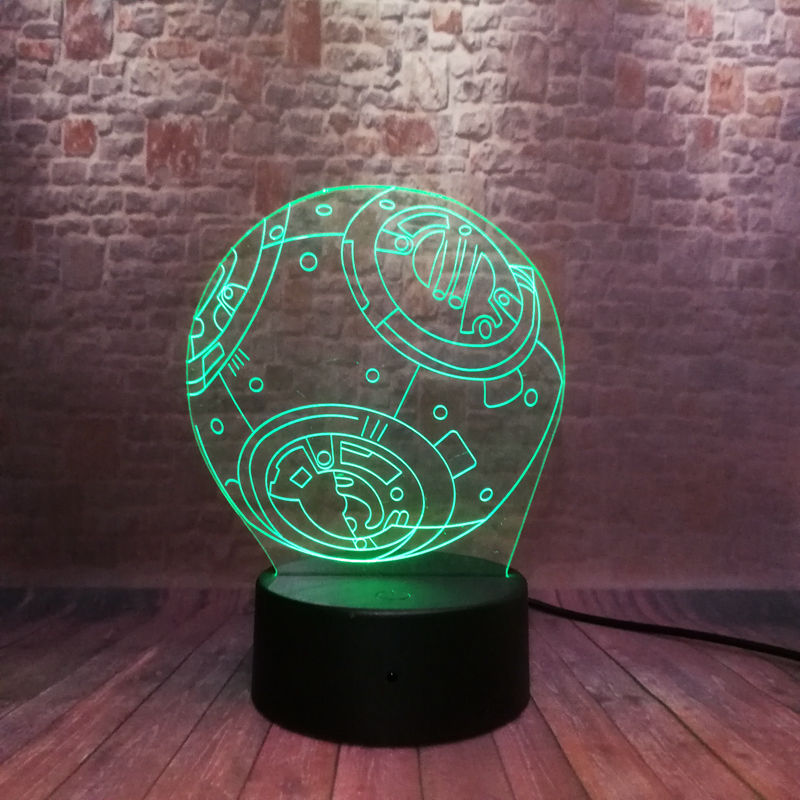 Cool 3D Illusion LED Nightlight 7 Colors Changing Light Star Wars BB-8 Droid Robot action & toy figures 1