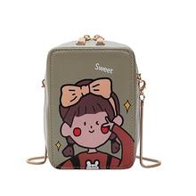 Chain Purse Cute Fashion Cartoon PU Print Unicorn Girl Faux Leather Crossbody Casual Ladies Handbag Shoulder Bag Flap Totes