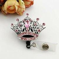 50/100pcs/lot free shipping Hot selling rhinestone crystal Princess pink crown Retractable ID Badge Holder/reel