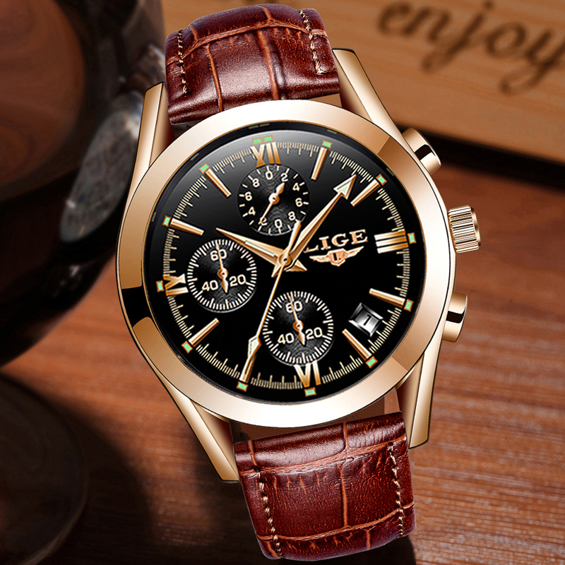 Image 4 - montre homme LIGE Fashion gold Mens Watch Leather Analog Quartz watches Men 30M Waterproof Sport Chronograph Date Male Clock+box-in Quartz Watches from Watches