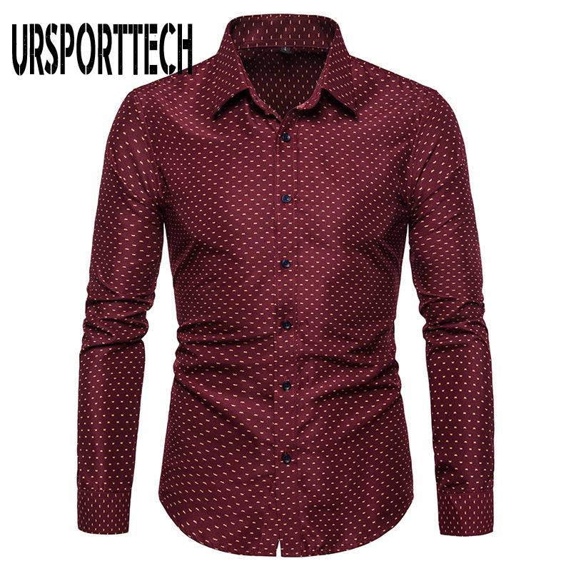 URSPORTTECH Print Long Sleeve Shirt Men Large Size Regular Fit Elegant Casual Shirts Male Business Dress Shirt Camisas Masculina
