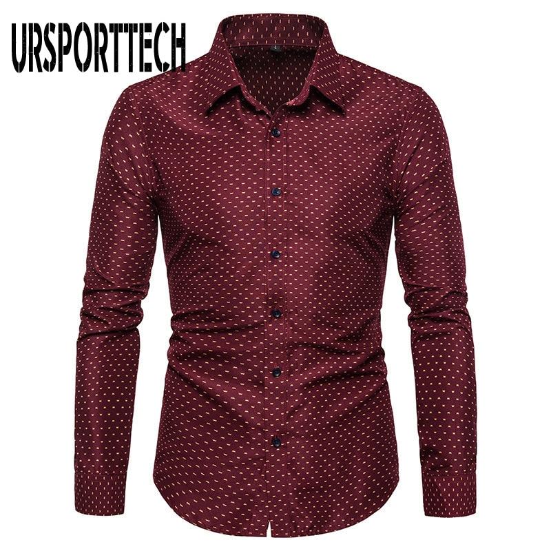 URSPORTTECH Print Long Sleeve Shirt Men Large Size Regular Fit Elegant Casual Shirts Male Business Dress Shirt Camisas Masculina