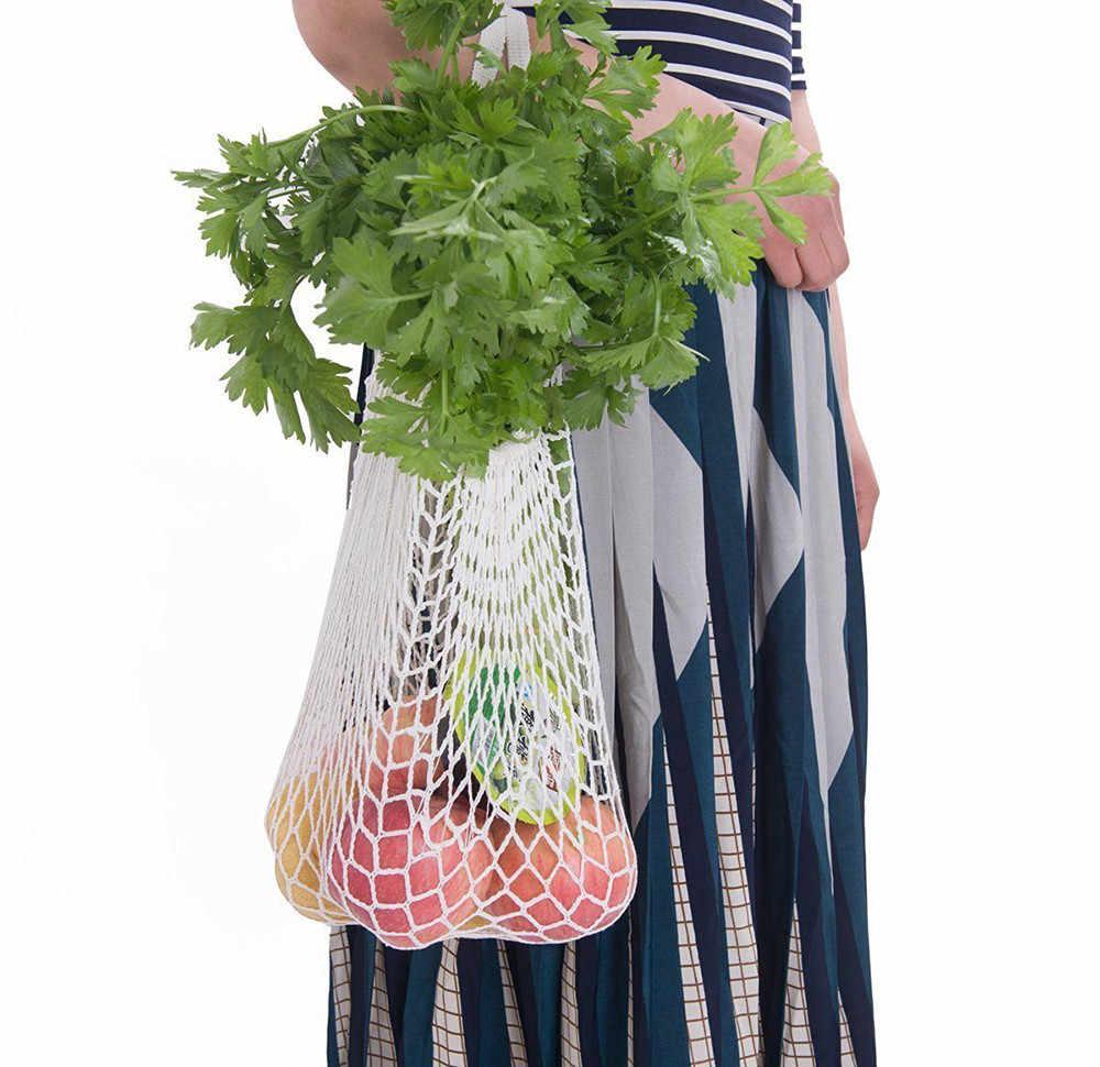 Novo saco de malha string saco de compras reutilizável bolsa de armazenamento de frutas totes saco de compras de compras de algodão tecido totes