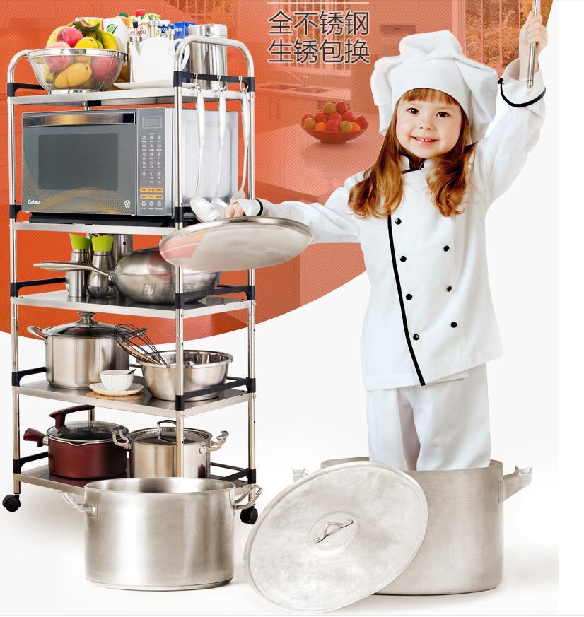 Kitchen microwave storage rack 201 stainless steel storage rack multi floor seasoning oven rack