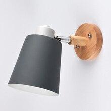 Moderne Houten Wandlamp Nordic Stijl Indoor Verlichting Nachtkastje Led Wandlamp Voor Kinderen Lezen Bed Armatuur Slaapkamer