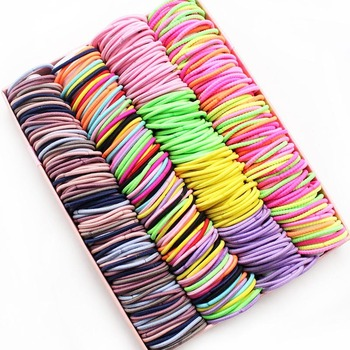 New 100PCS/Lot Girls Candy Colors Nylon 3CM Rubber Bands Children Safe Elastic Hair Ponytail Holder Kids Accessories - discount item  10% OFF Kids Accessories