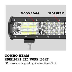 Image 2 - Barra de luz LED de obra, barra de luz LED de 15, 18, 20 , 23, 216w, 252w, 288w, 324w, 7D, Offroad Combo, 12v, 24v, para coche, Tractor, camión, SUV, ATV, barco, 3 filas